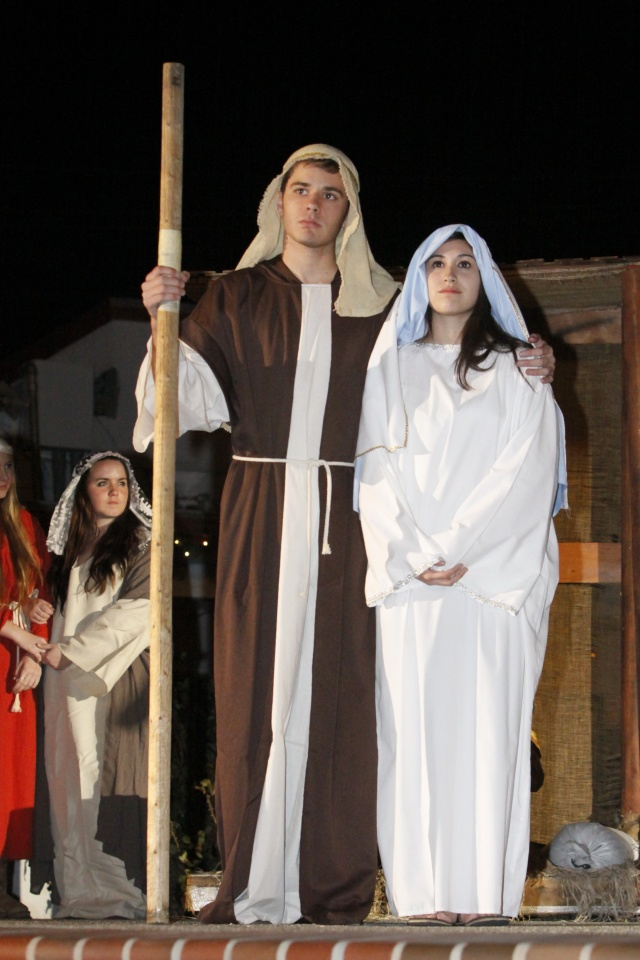 Nativity presentation at annual Christmas at the Corner event.