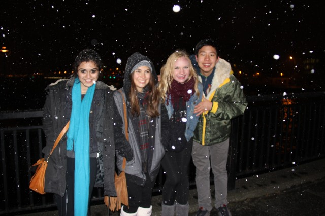 A few brave students braved the cold to see Dublin at night
