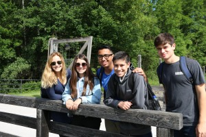 Students explore Dachau to learn more about its history.