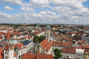 View of Munich from the top of Marienplatz Church