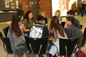 Students playing UNO
